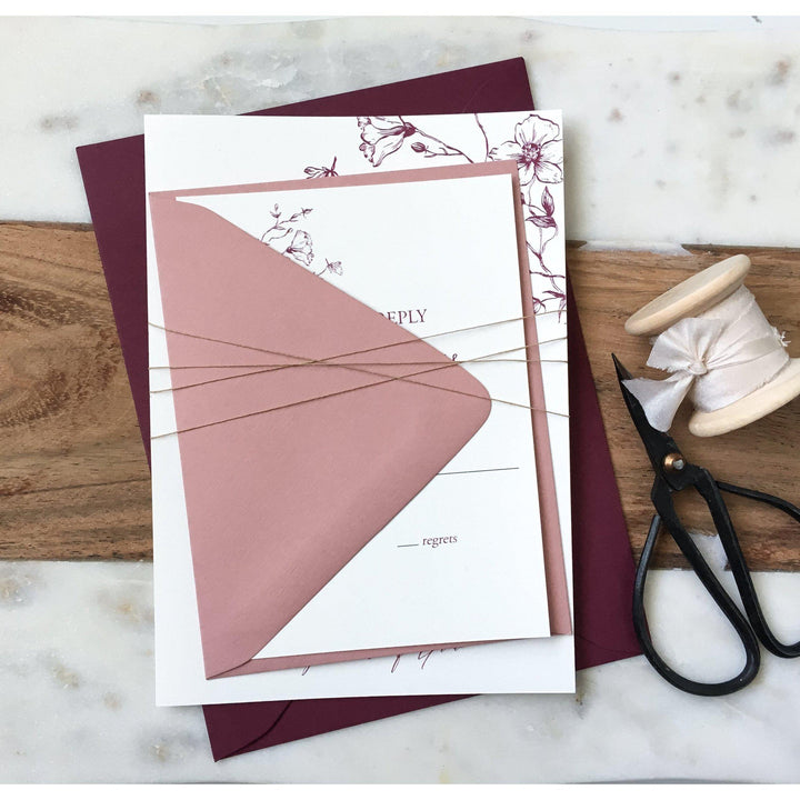 Botanical, Blush Pink and Burgundy-Wedding Invitation Suite-Love of Creating Design Co.