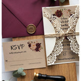 Laser Cut Pocket Wedding Invitation, Marsala Floral, Rustic
