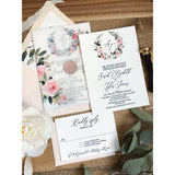 Blush Floral Letterpress Wedding Invitation with Vellum wrap