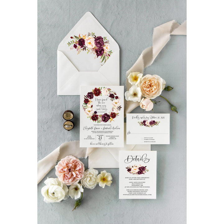 Burgundy And Blush Floral Wedding Invitation