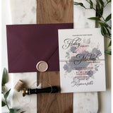 Wedding Invitation with Vellum, Burgundy and blush Florals