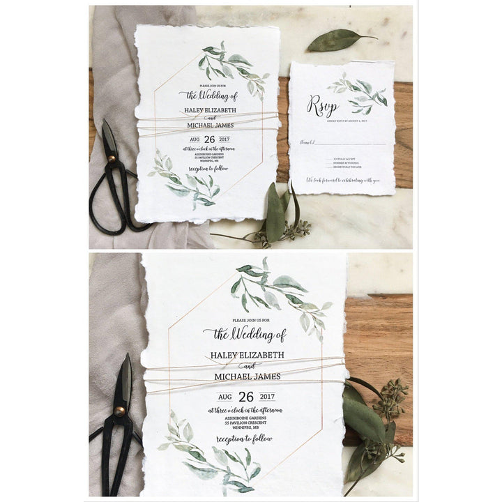 Paper For Wedding Invitation: Modern Greenery, Handmade Paper Wedding Invitation