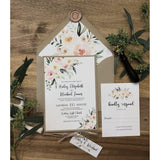 Rustic Wedding Invitation with Blush Watercolor Florals