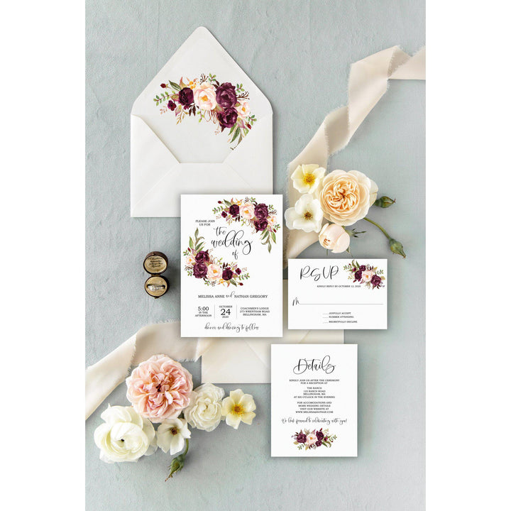 Marsala, Blush Floral Wedding Invitation