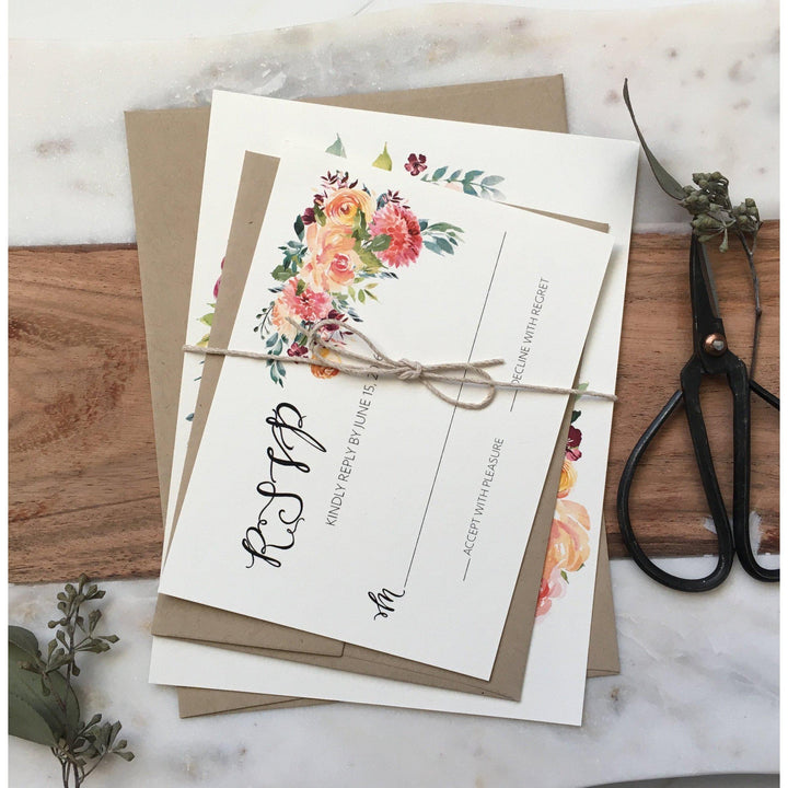Boho Chic Floral Wedding Invitation Rustic Wedding Invitation