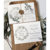 Rustic Greenery Save the Date Card, Vellum Wrap