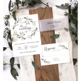 Modern Greenery Wedding Invitation, Vellum Belly Band