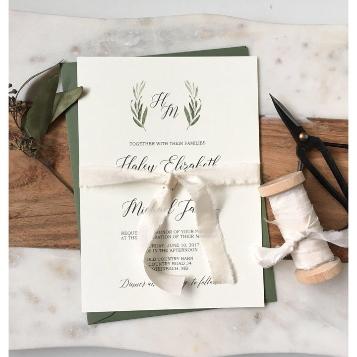 Modern Greenery with Silk Ribbon-Wedding Invitation Suite-Love of Creating Design Co.