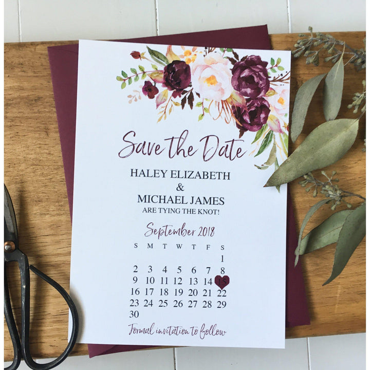 Marsala Save the Date, Wedding Crest, Floral-Save the Date-Love of Creating Design Co.