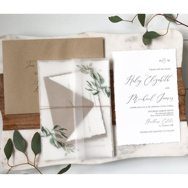Rustic Vellum, Greenery Wedding Invitation