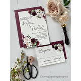 Letterpress Wedding Invitation with Burgundy and Blush Floral