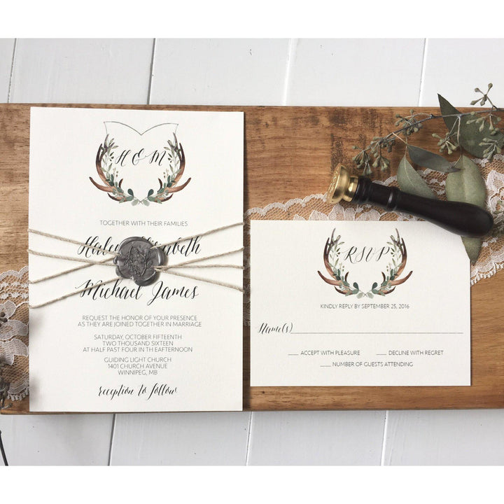 Rustic Wedding Invitation, Antler Wedding Crest, Wax Seal – Love of ...