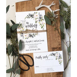 rustic dusty blue floral wedding invitation