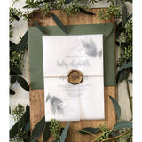 Rustic Vellum Greenery Wedding Invitation