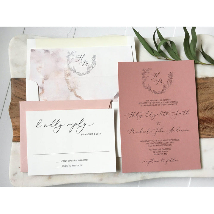 Modern Dusty Rose Wedding Invitation