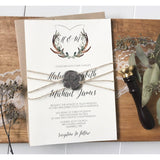 Rustic Wedding Invitation, Antler Wedding Crest, Wax Seal-Wedding Invitation Suite-Love of Creating Design Co.