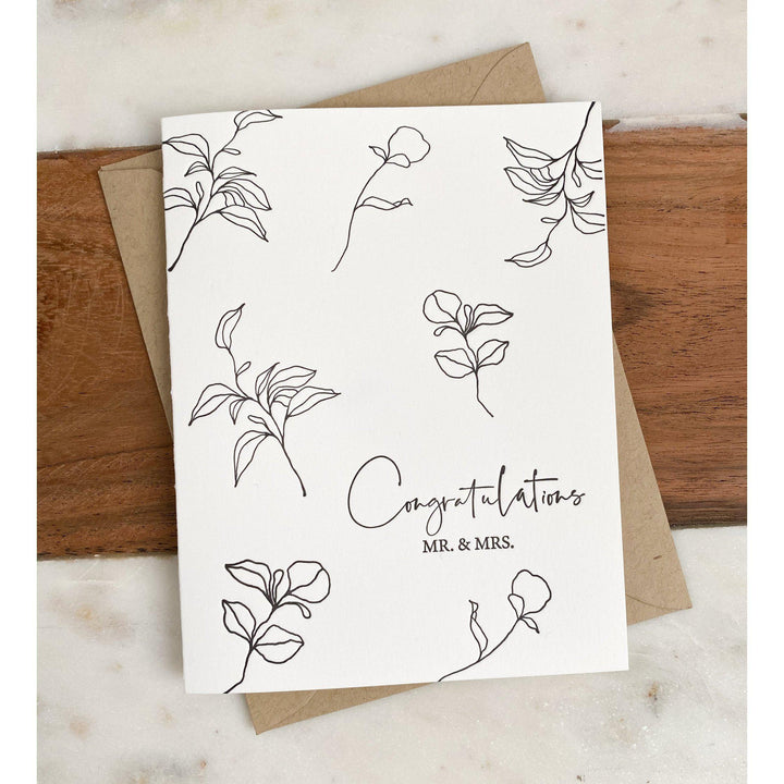 Letterpress Greeting Card, Congratulations Mr. & Mrs