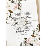 Elegant Romantic Blush Floral Letterpress Wedding Invitation Set