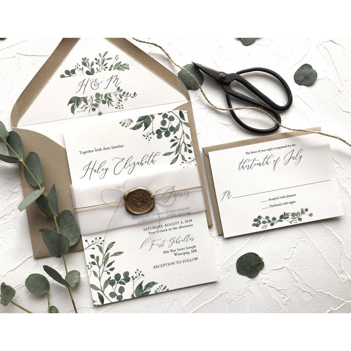 Wax Seals For Wedding Invitations: Rustic Greenery Wedding Invitation, Wax Seal, Vellum Wrap
