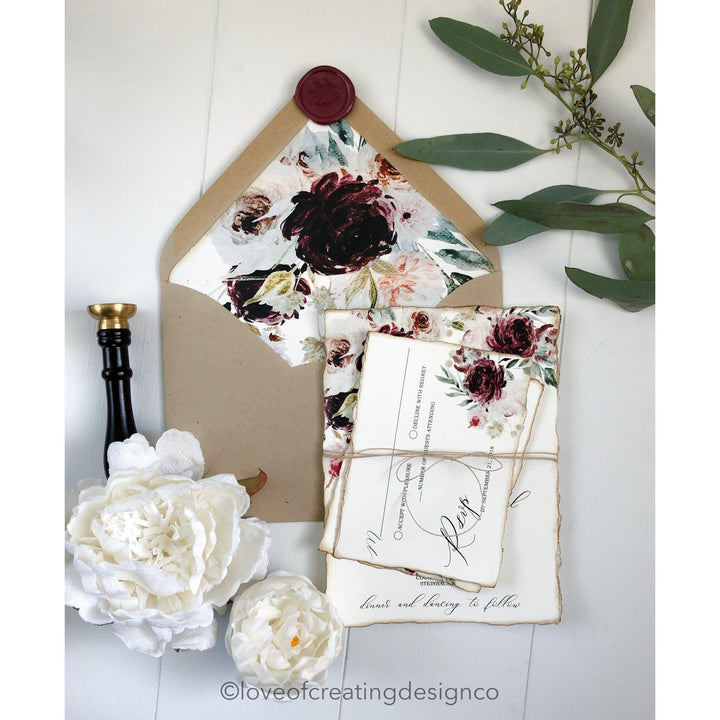 burgundy floral wedding invitation