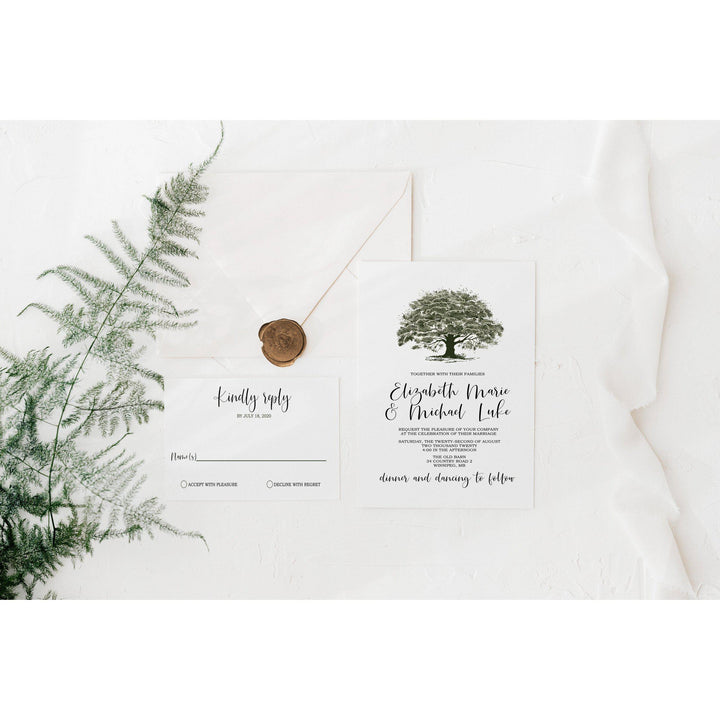 Rustic Wedding Invitation with Oak Tree