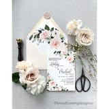 Letterpress Wedding Invitation with Blush Pink Floral