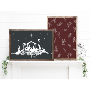 Silent Night Christmas Wood Sign