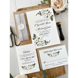 White Floral Letterpress Wedding Invitation Set