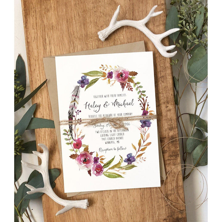 Bohemian, Rustic Wedding Invitation