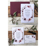 Burgundy Floral Wedding Invitation, Handmade paper, Deckled Edge