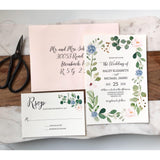 Greenery Wedding Invitation, Floral wedding Invitation