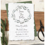 Greenery Save The Date, Handmade Paper