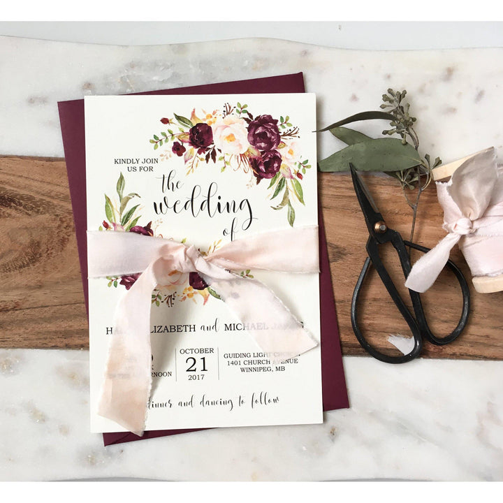 Burgundy and Pink Floral, silk ribbon-Wedding Invitation Suite-Love of Creating Design Co.