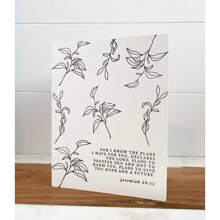 Letterpress Note Card, For I know the plan the Lord Has