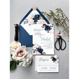Letterpress Wedding Invitation with Blush and Navy Floral