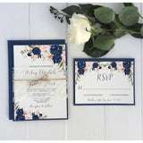Navy Floral Boho-Wedding Invitation Suite-Love of Creating Design Co.