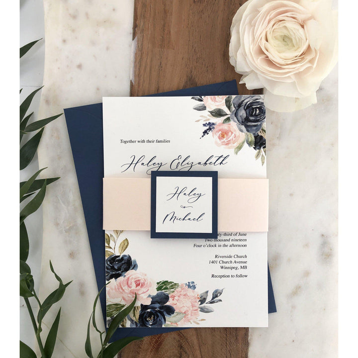 Blush and Blue Floral Wedding Invitation