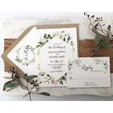 Rustic Wedding Invitation, Greenery, Kraft