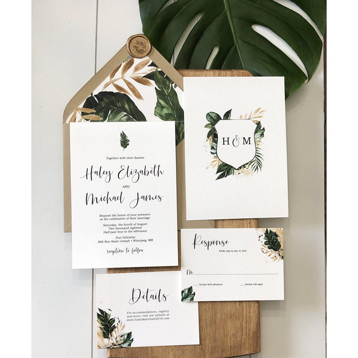 Tropical Wedding Invitation, Palm Leaves
