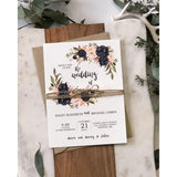 Rustic Navy Floral Wedding Invitation