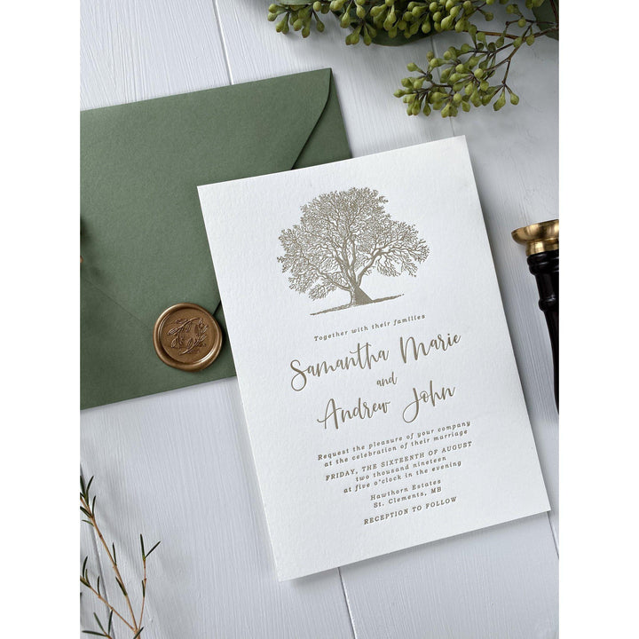 Oak Tree Letterpress Wedding Invitation