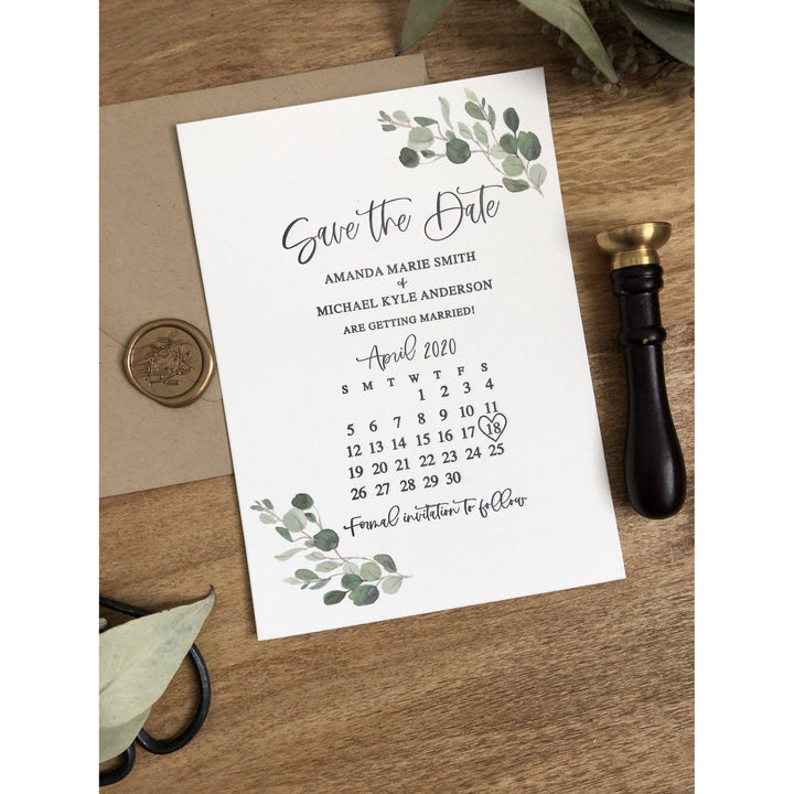 Letterpress Greenery Save the Date Card