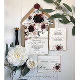 rustic wedding invitation, burgundy floral wedding invitation