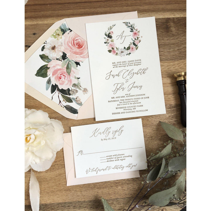 Blush Floral Letterpress Wedding Invitation