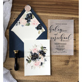 Vellum Wedding Invitation with blush and navy Florals