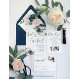 Blush and Navy Floral Wedding Invitation