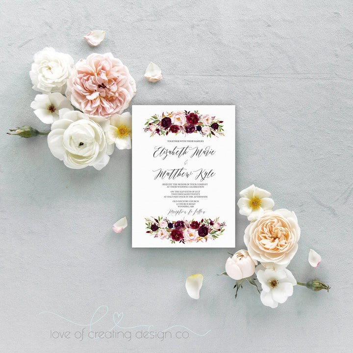Marsala Floral Wedding Invitation, Burgundy and Blush
