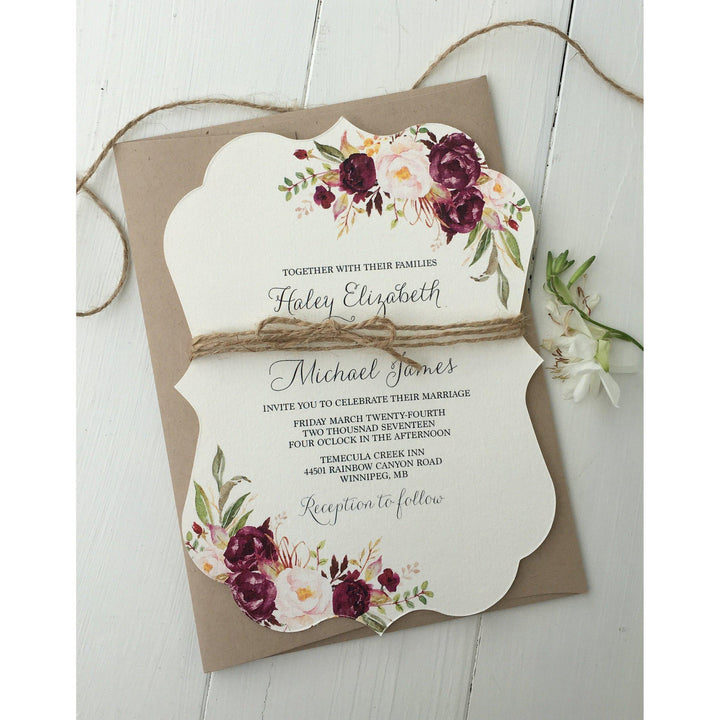 Burgundy Floral-Wedding Invitation Suite-Love of Creating Design Co.