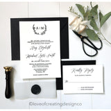 Letterpress Wedding Invitation with Vellum Band and Wax Seal