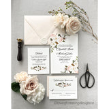 Elegant Letterpress Wedding Invitation with Blush and white Floral